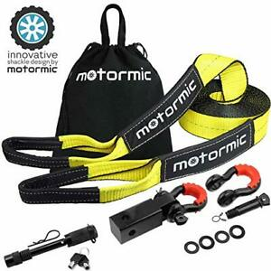 Motormic Tow Strap Recovery Kit 30 Ft X 3 Rope 2 Shackle Hitch Receiver 5 8