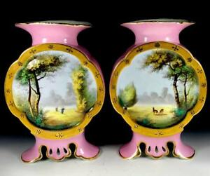 Pair Antique Large Old Paris France Handpainted Porcelain Scenic Vases