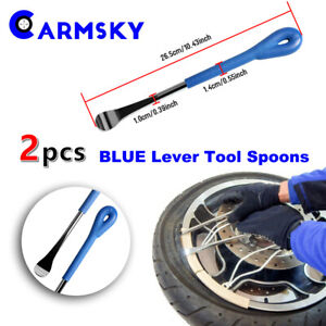 2pcs Blue Handle Iron Tire Lever Spoon Changing Repair Tool Fit Motorcycle Bike