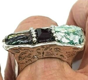 Roman Glass Ring S Silver Fragments 925 Ancient 200 B C Bluish Patina Israel