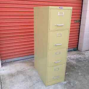 Vintage Yellow Tall File Cabinet Century Art Of Steel 4 Drawers Office Storage