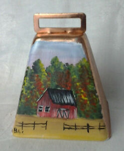 Copper Cow Bell With Fall Barn Scene 1130201803