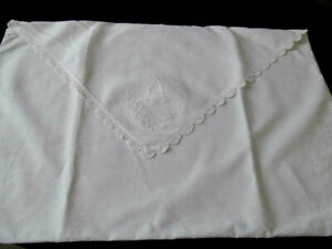 Monogram A Antique Envelope Pillow Sham Cover White Embroidery Crocheted Lace