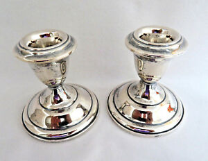 Pair Sterling Silver Candle Holders Candlesticks Xlnt