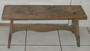 Vtg Antique Large Foot Stool Primitive Wood 27 Long Footstool Bench Nice Patina