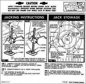 62 Chevy Impala Bel Air Biscayne Spare Tire Jacking Instructions 1962