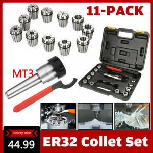 Precision Er32 Collet Set Mt3 Shank Chuck Spanner Box For Milling Machine Us