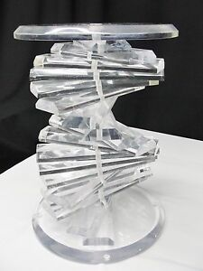 Vtg Acrylic Lucite Helix Dna Spiral End Table Pedestal Base Modern Mid Century