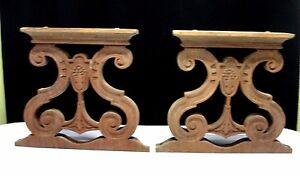 2 Solid Wood Carved Stool Table Base Bench Legs Parts Antique Scroll Flower Vtg