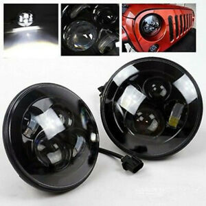7 Round Led Projector Headlights Hi low Beam For Jeep Wrangler Jk Hummer H1 H2