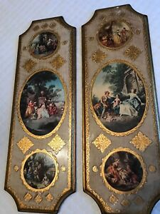 Italian Italy Florentine Large Wall Plaque Decor Lot Of 2 Vintage Wood 20