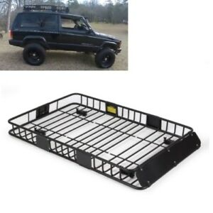 Universal Roof Rack Basket Car Top Luggage Holder Wind Fairing Jeep Suv Camping