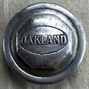 Vintage Threaded Oakland Hubcap With Raised Lettering Logo