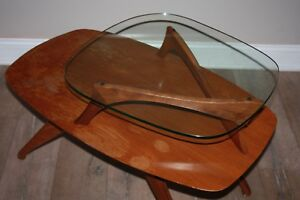 Vintage Mid Century 2 Step Glass Top Table