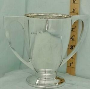 393 English Sterling Silver Trophy Loving Cup 1933 Art Deco Style Not Inscribed