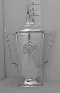 266 English Sterling Silver Trophy Loving Cup And Cover Horticultural Interest