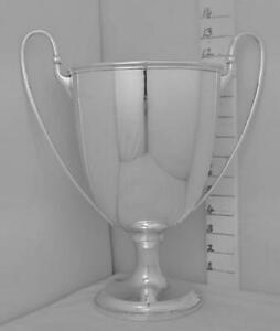 358 Large English Sterling Silver Trophy Loving Cup Plain Form Not Inscribed