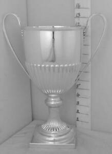 395 Large Antique English Sterling Silver Trophy Loving Cup By Mappin And Webb