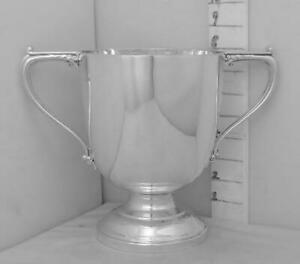222 English Sterling Silver Trophy Loving Cup Medium Size Plain Not Inscribed