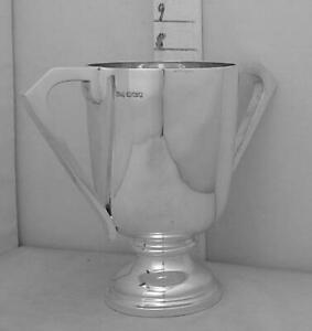 327 English Art Deco Sterling Silver Trophy Loving Cup By Walker