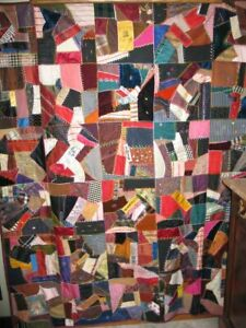 Antique Crazy Quilt C1800s Decorative Hand Stitched Pieced Provenance Signed