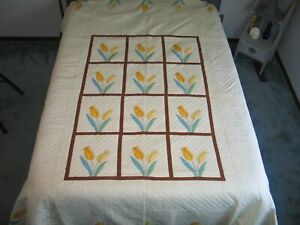 Antique Floral Hand Applique Quilt Tulip Flower Quilt Densely Hand Quilted