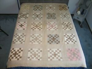 Antique C1800s Nine Patch Quilt Signed 1800s Prints Hand Quilted 74 By 58 Inches
