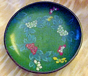 Antique 6 Floral Chinese Cloisonne Hand Painted Dish Plate Exc Cond