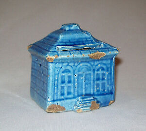 Antique Vtg 19th C 1800s Small Pottery House Or Building Still Bank Great Glaze