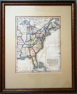1828 Atlas Map United States And British Provinces Framed Perkins