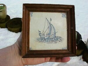 Framed 18th Century Vintage 4 Dutch Faience Delft Tile Masted Sailing Ship