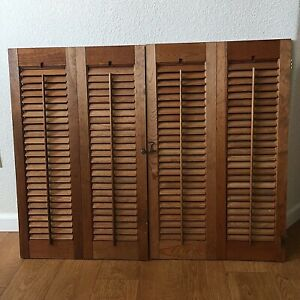 Vintage Wood Louvered Indoor Shades Shutters Single Fold Set Of 2 Rustic Country
