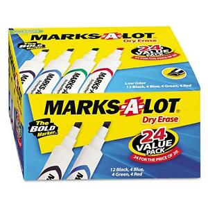Marks A Lot Dry Erase Markers Mix Chisel Tip Durable School Kids Bulk 24ct Nice