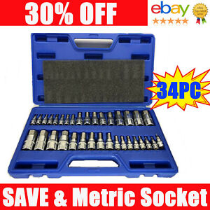 Master Allen Hex Bit Socket Set S2 Steel 34 Piece Set Sae Metric Motorcycle Tool
