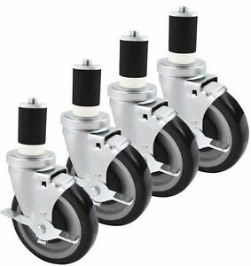 Equipment Caster Kit For Stainless Steel Work Table Round Legs 5 Wheel Set Of 4