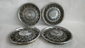 4 Hub Cap Wheel Cover Wire Type Double Lock Oem 80 81 Cadillac Deville R309590