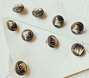 Lot Of 9 Painted Metal Victorian Buttons W Gilt Accent 7 16