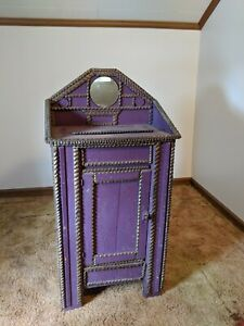 Antique Tramp Art Wooden Wash Cabinet Early 1900s Primitive Folk Art Furniture