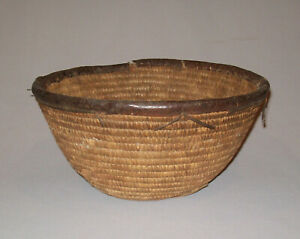 Old Antique Vtg 19th C 1880s Woven Native Basket Leather Rim And Bottom Nice