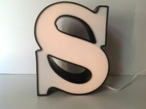 Letter s Commercial Sign Lighted Aluminum Body Plastic Face Used O4