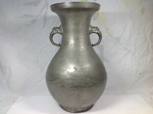 18th Chinese Pewter Pear Shape Vase With Dragon Handle