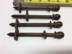 Antique 4 Anchor Posts For Drawer Cabinet Pulls Handles Victorian Early O2