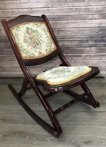 Antique Victorian Wood Tapestry Folding Rocking Chair Floral Mahogany Rocker