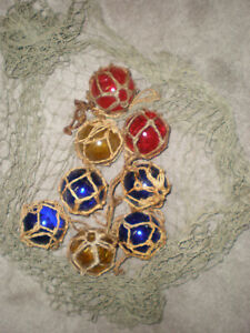 Lot Of 8 Vintage Japanese Glass Fishing Balls Red Blue Amber Floats Buoy Nets