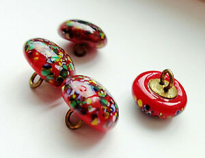Lot Of 4 Antique Red Spattered Glass Buttons 3 8