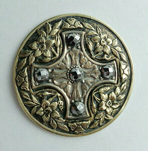Antique Metal Button Cut Steel Cross W Floral Border 1 1 8