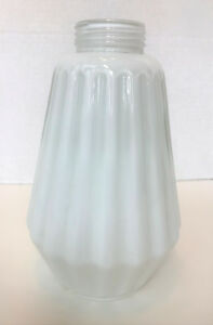 Antique Milk Glass Ceiling Shade Fluted Ribbed