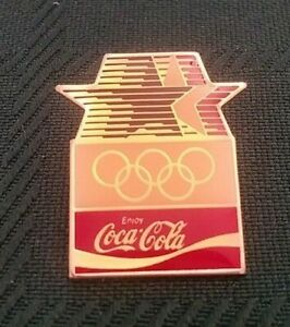 VINTAGE SODA COCA COLA OLYMPICS RED WHITE BLUE STARS COLLECTIBLE ENAMEL PIN