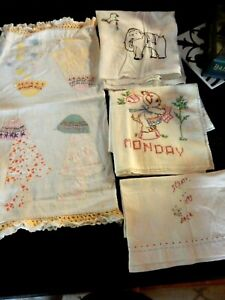 Vintage Lot Of 4 Kitchen Linens Great 1940s 50s Handwork Towels Etc