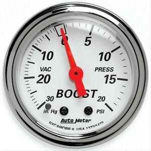 Autometer 1372 Arctic White Mechanical Boost vacuum Gauge 2 1 16 Dia White Face